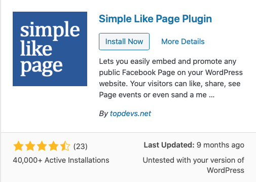 FaceBook Simple Like Page Plugin